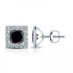 Серьги пусеты с черными бриллиантам Квадрат в ореоле