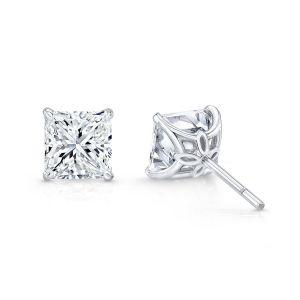 Серьги пусеты с бриллиантами огранки Принцесса