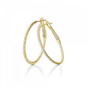 Серьги кольца тонкие с бриллиантами