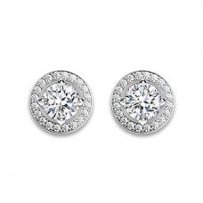 Серьги пусеты с бриллиантами в ореоле в винтажном стил