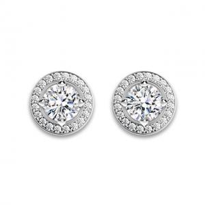 Серьги пусеты с круглыми белыми бриллиантами в ореоле