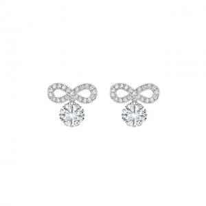 Серьги трансформеры с круглыми белыми бриллиантами в ореоле