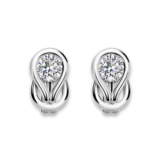 Серьги кольца с круглыми белыми бриллиантами,  Больше Изображение 3