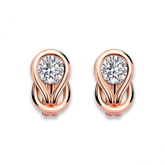 Серьги кольца с круглыми белыми бриллиантами,  Больше Изображение 2