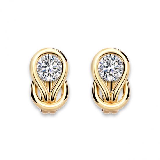 Серьги кольца с круглыми белыми бриллиантами,  Больше Изображение 5