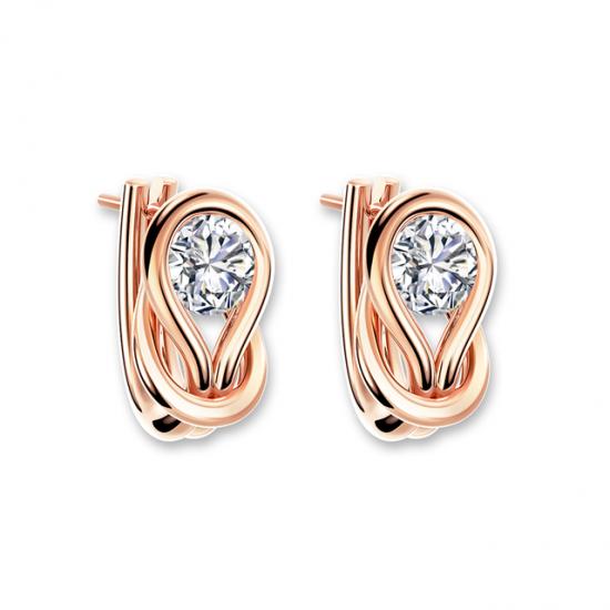 Серьги кольца с круглыми белыми бриллиантами, Больше Изображение 1