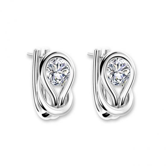 Серьги кольца с круглыми белыми бриллиантами,  Больше Изображение 4