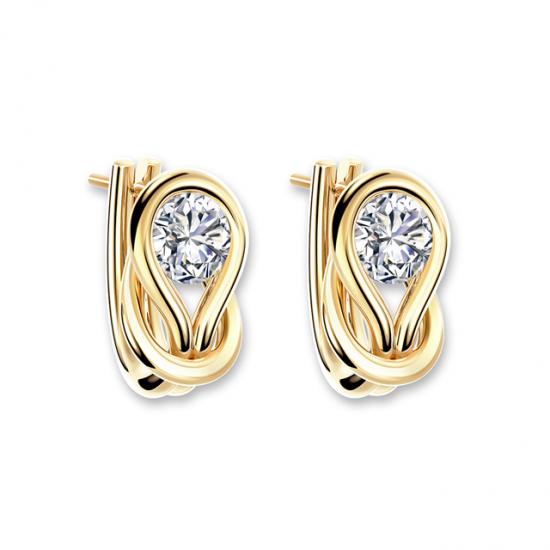 Серьги кольца с круглыми белыми бриллиантами,  Больше Изображение 6