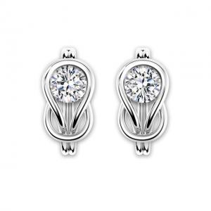 Серьги-кольца из золота с белыми бриллиантами