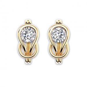 Серьги-кольца с белыми бриллиантами