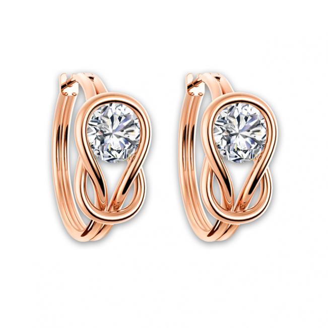 Серьги-кольца с бриллиантами из желтого золота