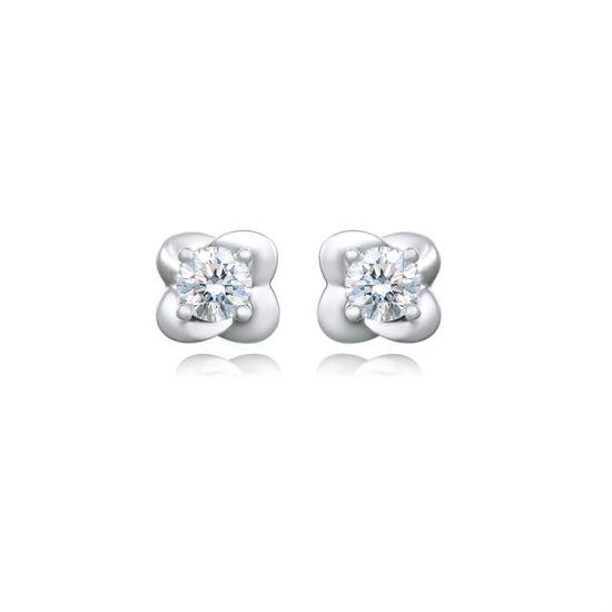 Серьги пусеты с круглыми бриллиантами Цветки, Больше Изображение 1