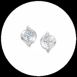 Серьги пусеты с круглыми белыми бриллиантами