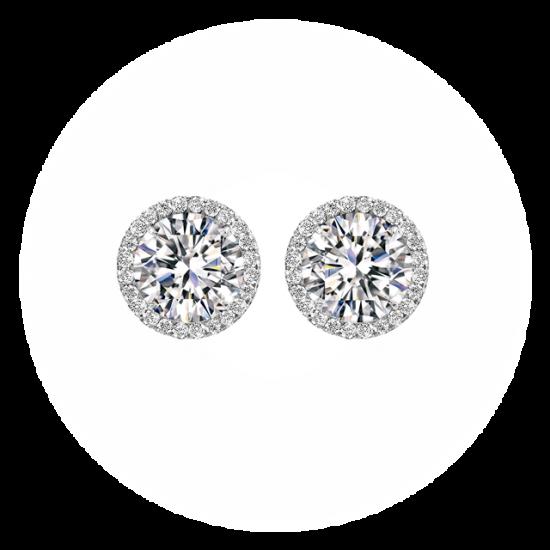 Серьги пусеты с круглыми белыми бриллиантами в ореоле, Больше Изображение 1