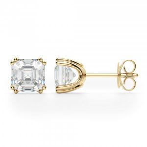 Серьги пусеты с бриллиантами ашер из желтого золота