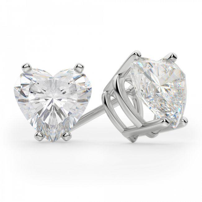 Серьги пусеты с бриллиантами огранки Сердце
