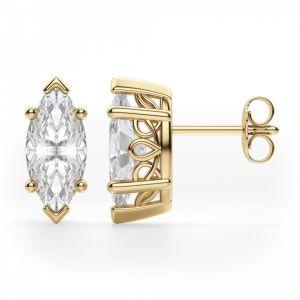 Серьги пусеты с бриллиантами «маркиз»