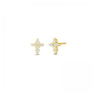 Маленькие серьги Крестики с бриллиантами из золота