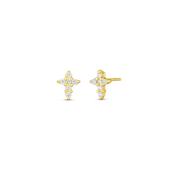 Маленькие серьги Крестики с бриллиантами из золота, Больше Изображение 1
