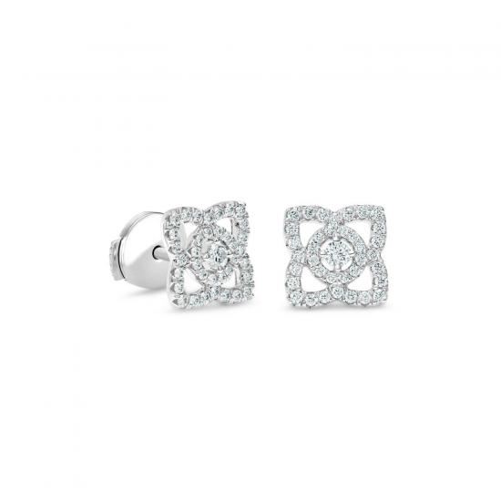 Серьги гвоздики Цветочки с бриллиантами, Больше Изображение 1