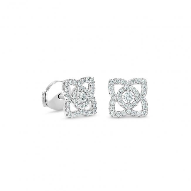 Серьги гвоздики Цветочки с бриллиантами