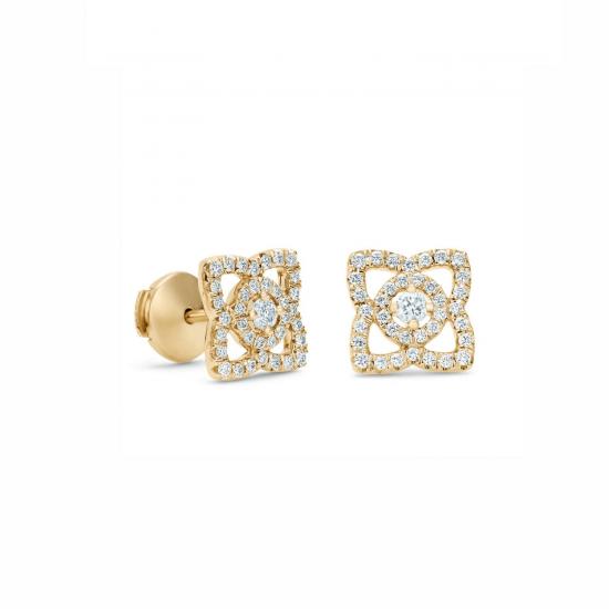 Серьги пусеты Цветы с бриллиантами, Больше Изображение 1