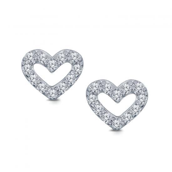 Серьги Сердечки гвоздики с бриллиантами, Больше Изображение 1
