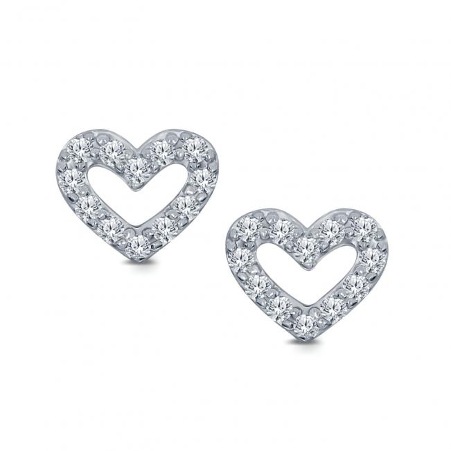 Серьги Сердечки гвоздики с бриллиантами