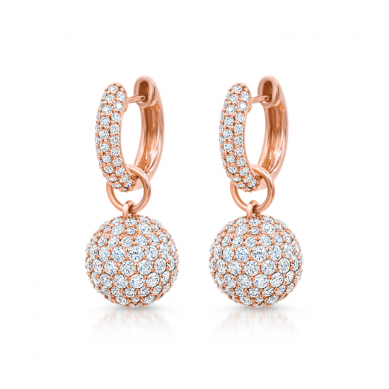 Серьги шарики с бриллиантами, Больше Изображение 1