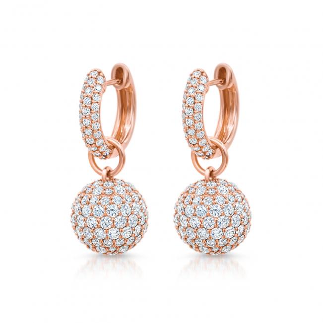 Серьги шарики с бриллиантами