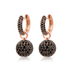 Серьги шарики с черными бриллиантами
