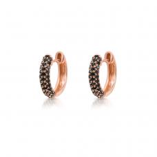 Маленькие серьги колечки с черными бриллиантами