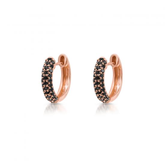 Маленькие серьги колечки с черными бриллиантами, Больше Изображение 1