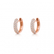 Серьги колечки с бриллиантами из розового золота