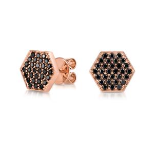 Серьги пусеты с черными бриллиантами Miel