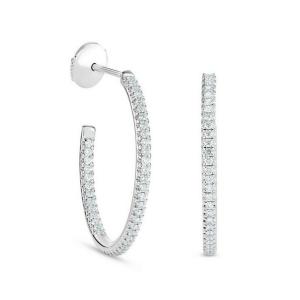 Серьги разомкнутые колечки с бриллиантами