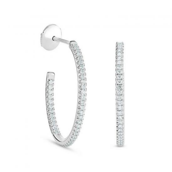 Серьги разомкнутые колечки с бриллиантами, Больше Изображение 1