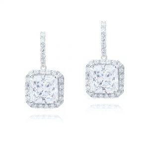 Серьги с бриллиантами принцесса в ореолах на английском замке