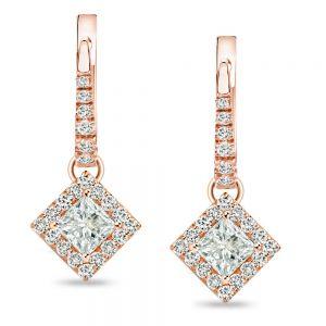 Висячие серьги с квадратными бриллиантами