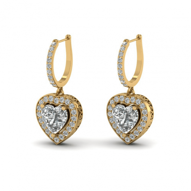 Серьги с бриллиантами в форме сердца - Фото 1