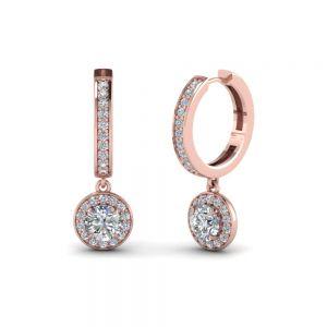 Висячие серьги с круглыми бриллиантами