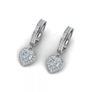 Серьги с бриллиантами в форме сердца на английском замке