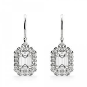 Серьги бриллиантами эмеральд на петле