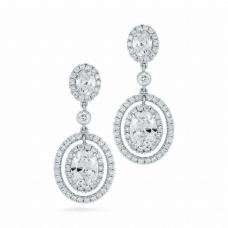 Серьги с овальными бриллиантами на английском замке