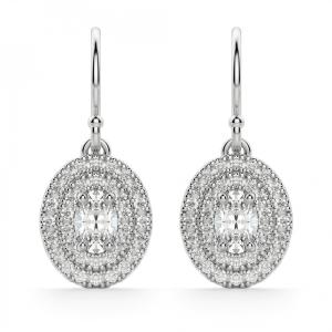 Серьги с овальными бриллиантами на петле