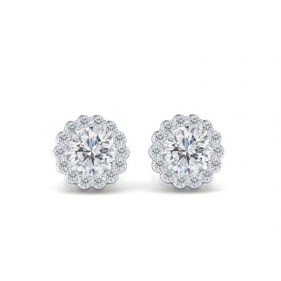 Серьги пусеты с бриллиантами в форме цветка,  Больше Изображение 5