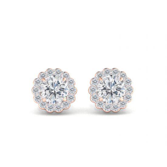 Серьги пусеты с бриллиантами в форме цветка, Больше Изображение 1