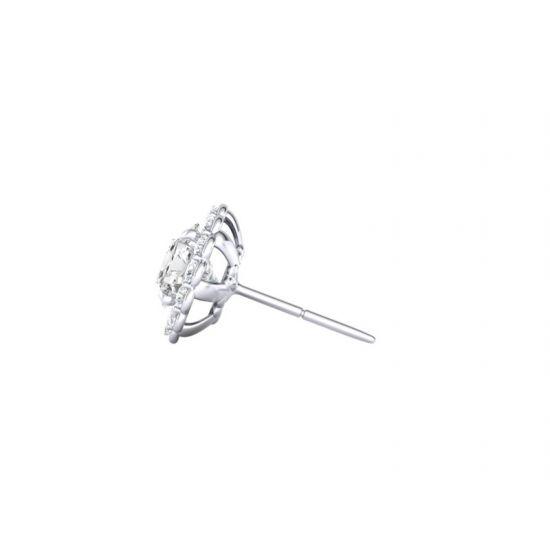 Серьги пусеты с бриллиантами в форме цветка,  Больше Изображение 2