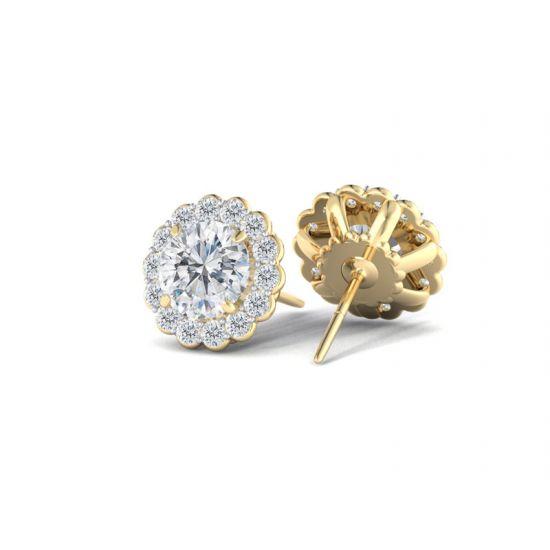 Серьги пусеты с бриллиантами в форме цветка,  Больше Изображение 3