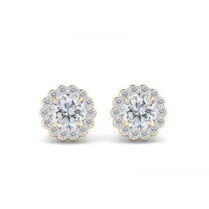 Серьги пусеты с бриллиантами в форме цветка